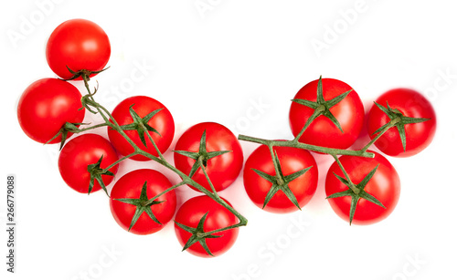 Poster de jardin Inde Cherry tomatoes isolated on white background. Flat lay. Top view.