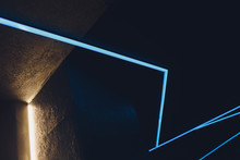 Abstract Contemporary Architecture Background, Ceiling Lighting Corner, Neon Light Stripe Over Dark Blue.