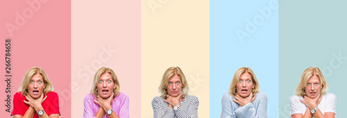 Fototapeta  Collage of middle age senior beautiful woman over colorful stripes isolated background shouting and suffocate because painful strangle