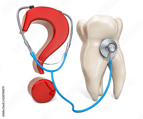 Tooth with question mark and stethoscope. Diagnostic and treatment concept, 3D rendering