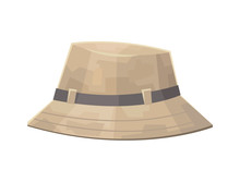 Cute Camping Safari Hat Isolated On White Background
