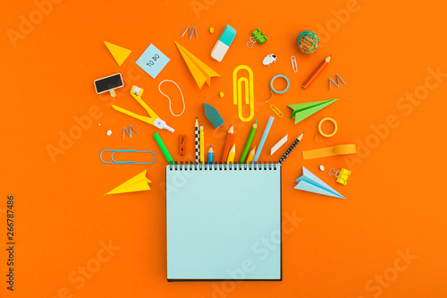 canvas print motiv - mallmo : Blank notebook and school supplies. Creative flat lay desk