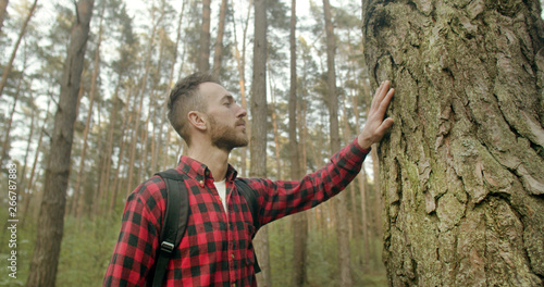 Valokuva  Young bearded backpacked man dressed in red checked shirt touches old pine tree