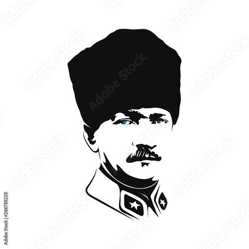 Illustration of Mustafa Kemal Ataturk portrait, vector Canvas Print