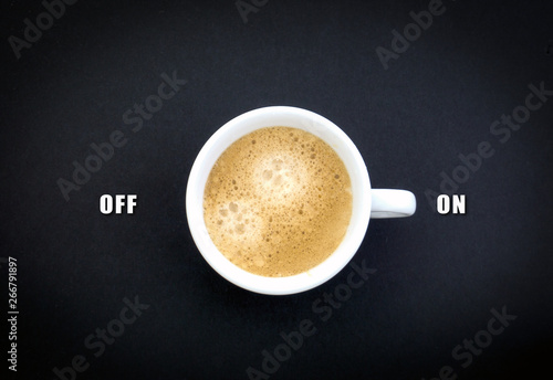 Coffee cup switch on off concept coffee morning break Canvas Print