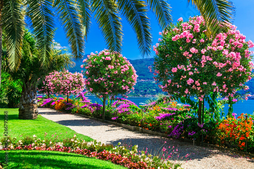 Beautiful gardens of famous italian lake Lago mggiore.