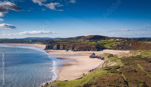 Photo Three Cliffs Bay Gower Peninsula Wales Great Britain Aerial View