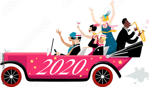 Obraz Group of celebrating New Year people dressed in 1920s fashion arriving in a vintage car with 2020 painted on it, EPS 8 vector illustration - fototapety do salonu