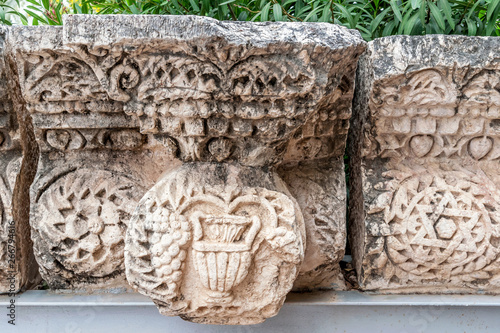 details of the decor of the ancient synagogue ruins in the city of Capernaum, the birthplace of St Obraz na płótnie