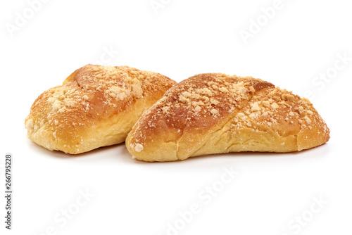 Fényképezés  Tasty bread rolls, sweet buns, close-up, isolated on white background