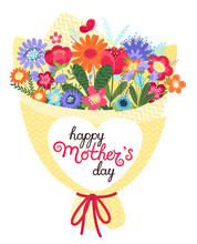 Mother S Day Greeting Card. Mother S Day Background With Bouquet And Hand Written Text Happy Mother S Day In Flat Style.