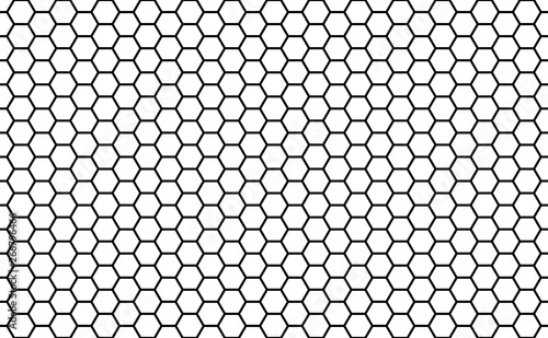 Black and white honey hexagonal cells seamless texture Tableau sur Toile