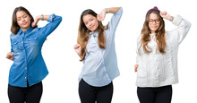 Collage Of Beautiful Young Woman Over Isolated Background Stretching Back, Tired And Relaxed, Sleepy And Yawning For Early Morning