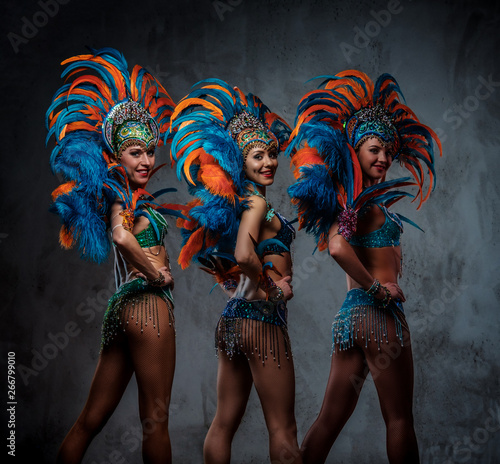 Photo Studio portrait of a group professional dancers female in colorful sumptuous carnival feather suits