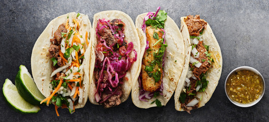 four mexican street tacos w...