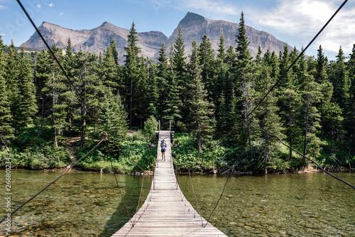 Fototapeta  Women Backpacking in Glacier National Park in Montana During Summer