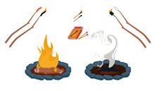 Campfire Vector Illustration Set Matches Extinguished Fire Pit Roasting Sticks