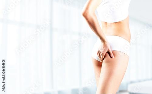 Fototapeta Health and beauty - woman in cotton underwear showing slimming concept obraz na płótnie