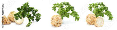 Poster Légumes frais celery root with leaf isolated on white background. Celery isolated on white. Healthy food