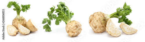Tuinposter Verse groenten celery root with leaf isolated on white background. Celery isolated on white. Healthy food