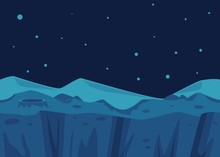 Vector Cosmic Landscape Background And Crater Star