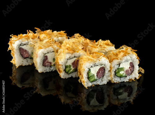 Set Sushi Roll Traditional Japanese Cuisine Isolated On