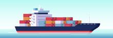 Vector Of Cargo Ship Container In The Ocean.