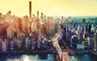 canvas print picture - Tech circle with the New York City skyline near midtown