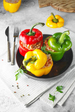 Colorful Stuffed Peppers With Rice And Minced Meat. Stuffed Paprika With Rice And Meat