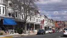 A Residential Street In Reading, Pennsylvania Of Rowhouses And Homes In Typical Pennsylvania Style.