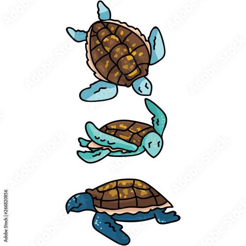 Cute Sea Turtle Cartoon Vector Illustration Motif Set Hand Drawn
