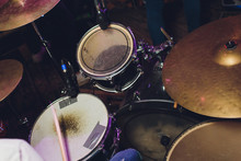 The Drum Set On The Stage. Drummer. View From Above.