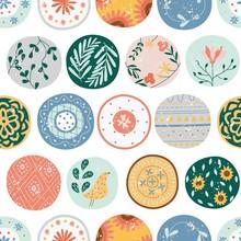 Kitchen Seamless Pattern Of Circles Or Ceramic Plates Flat Cartoon Style