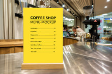 Mock Up Menu Of Coffee With Acrylic Frame