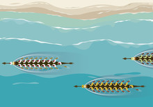 Aerial View Of Dragon Boats Competition Game Vector Illustration