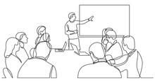 Team Member Explaining Work Plan In Fron Of Business Team - Single Line Drawing