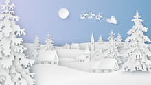 Landscape Of Snowy Countryside And Santa Claus Flying On The Sky In Winter. Merry Christmas And Happy New Year. Paper Art Design. Vector, Illustration.