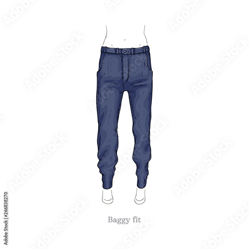 Photo Vector baggy fit style jeans, female denim pants