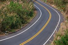 Asphalt Road Winding On The Mo...