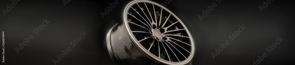 Fototapety, obrazy: new Luxury Black alloy Wheel, sporty with thin spokes, panorama copy cpace on black background