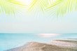 Tropical nature clean beach and white sand in summer with sun light blue sky and bokeh background.