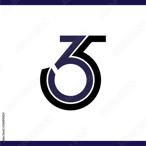 three six and five numbers logo vector Canvas-taulu