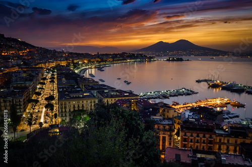 Autocollant pour porte Naples October Sunrise