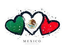 Mexican Flag In The Form Of Three Hearts. Vector Illustration