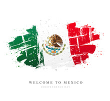 Flag Of Mexico. Vector Illustration On White Background.