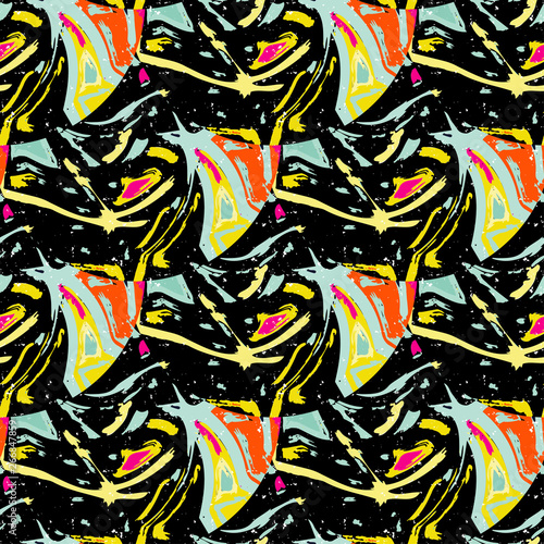 Foto op Aluminium Paradijsvogel bloem grunge colored graffiti seamless pattern