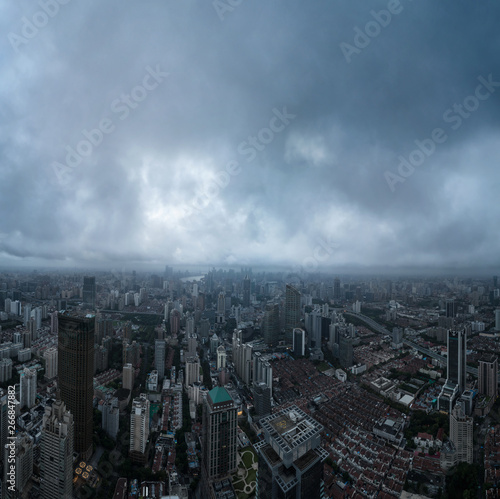 Fototapety, obrazy: Aerial view of business area and cityscape in the dawn, West Nanjing Road, Jing` an district, Shanghai