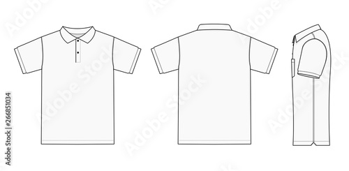 Carta da parati Polo shirt (golf shirt) template illustration ( front/ back/ side ) / white