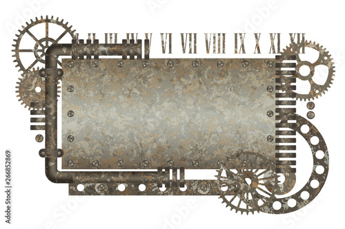 Metallic rusty frame with vintage machine gears and arabic numbers #266852869