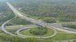 Aerial time lapse of Highway, Autobahn cross road kreutz vaihingen stuttgart on sunny day.